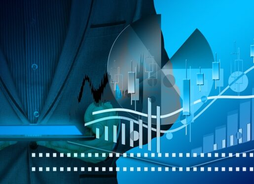 businessman, charts, trend